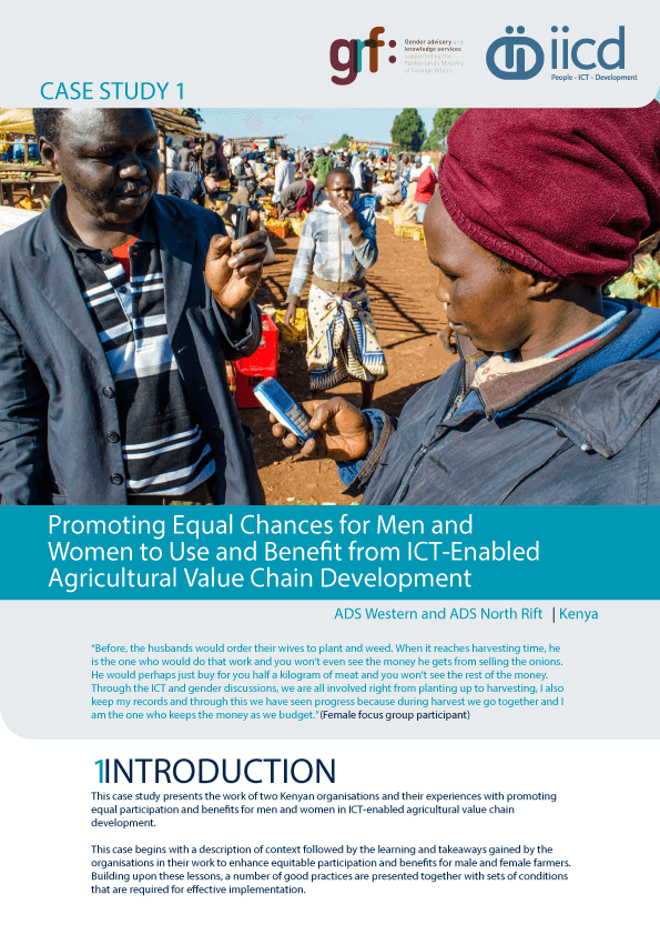 Promoting Equal Chances for Men and Women to Use and Benefit from ICT-Enabled Agricultural Value Chain Development